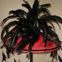 A Fabulous Red and Black Fascinator - SN506